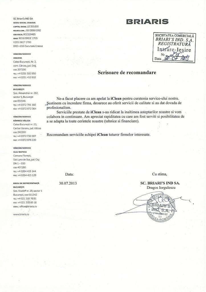 Scrisoare de recomandare Briaris